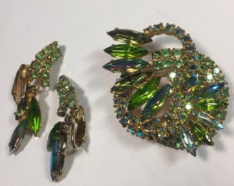 Vintage Juliana Olivine and AB Layered Brooch and Dangle Earrings