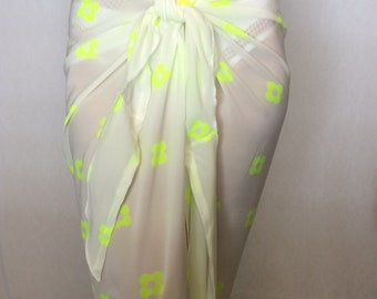 Off white sarong, pareo, swimsuit cover.