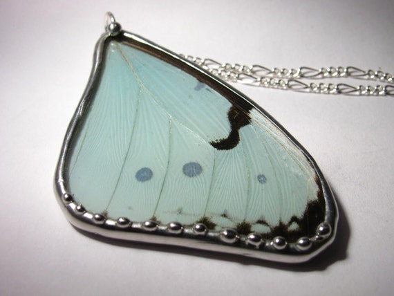 Mint Morpho Butterfly Necklace
