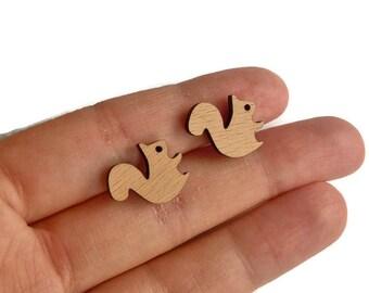 Squirrel stud earrings, squirrel wood stud earrings, animal jewelry, animal earrings, squirrel earrings, squirrel studs, wood squirrels