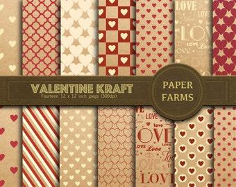Valentine kraft digital paper, Valentine's day digital paper, Love digital paper, scrapbook paper, kraft paper, instant download