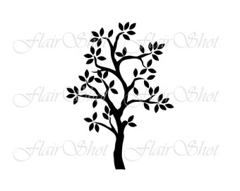 Digital Tree Clip Art, Silhouette Tree Clipart, Tree Clipart, INSTANT DOWNLOAD