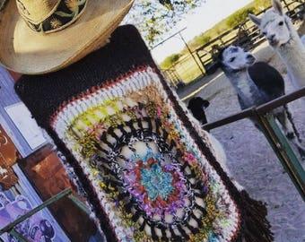 Crochet Poncho hand spun alpaca