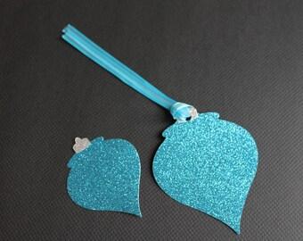 Christmas Ornament Tags   Set of 6 Embellishment Glitter Cardstock