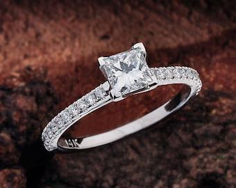 Princess Cut Diamond Engagement Ring, Princess Engagement Ring, Princess Cut Engagement Ring White Gold, White Gold Engagement Ring