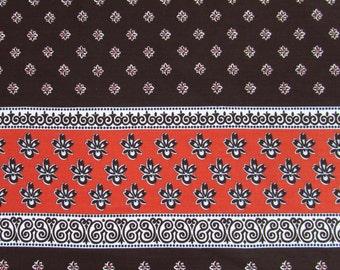 "Border Print Fabric - 2.5 yds x 42"" W - Mod 70s Brown & Orange sundress, wrap skirt"