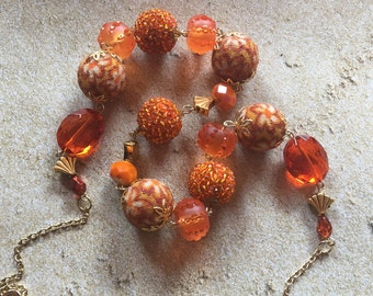 Orange Glass Statement Necklace, Beadwork Necklace, Beaded Necklace, Jewelry, Gifts For Her
