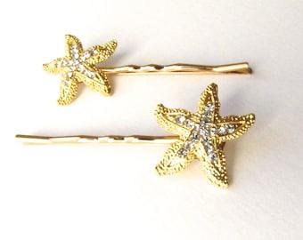 Gold Rhinestone Starfish Hair Clips Pins, Beach Wedding Sparkle Bobby Pins Set of 2
