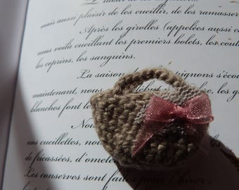 small miniature bag crochet for jewerly, window decoration.