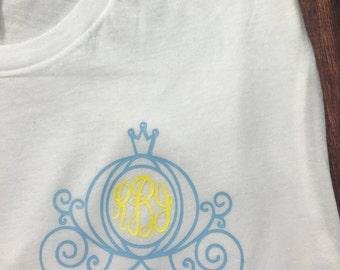 Monogram Cinderella's Carriage Shirt (Sizes Newborn-Adult 3XL)