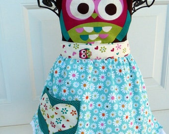 Childs Owl Apron Full Apron for Little Girls