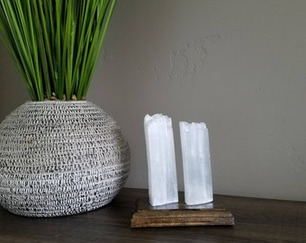 Double Selenite Crystal Home Decor w/ Wood Base