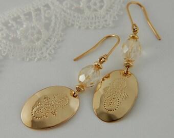 Gold Artisan Earrings Gold Drop Earrings Long Gold Earrings Hammered Gold Earrings Artisan Jewelry Gold