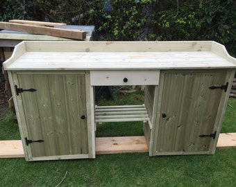 1.8 m wooden Potting table bench with cupboards and drawer