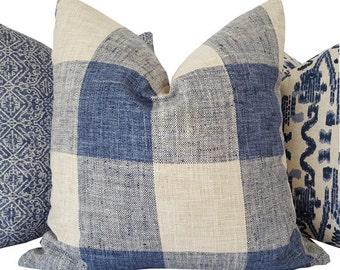 Buffalo Check Pillow - Navy Pillow - Plaid Pillow - Navy Decorative Pillow - Blue Pillow Cover - Navy Toss Pillow - PILLOW COVER ONLY