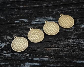 24k Antiqued Gold Love Pendants, Brass Love Charms, 4pcs