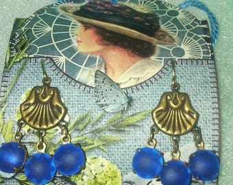 art deco brass shell stampings with glass rhinestones