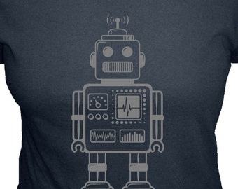 Womens Robot Shirt - Robot T Shirt - Geekery - 4 Colors Available - Organic Bamboo and Cotton Womens Shirt - Gift Friendly - Science Present