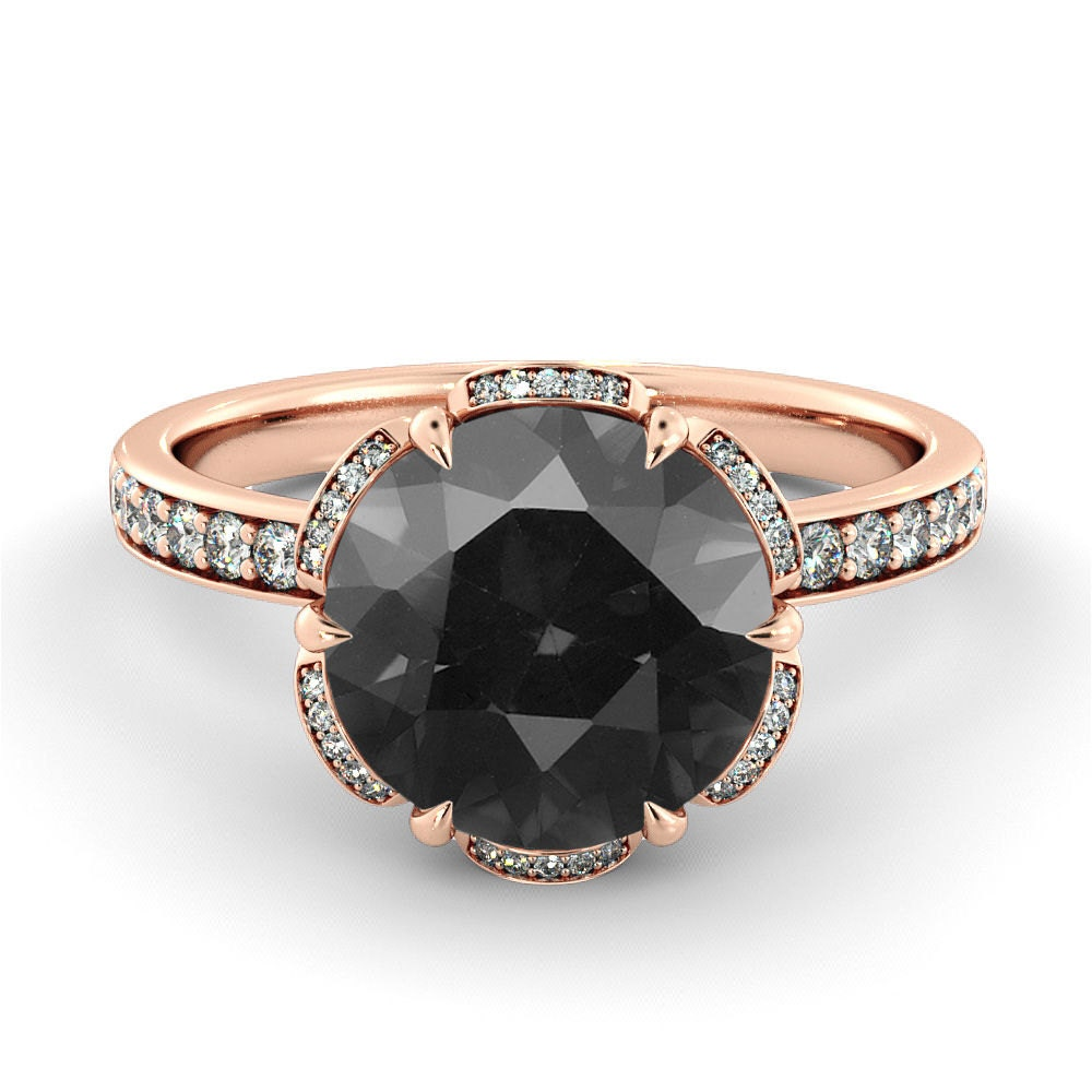 Black Diamond Engagement Ring Flower Vintage