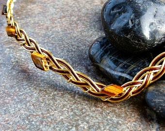 Tigers Eye Golden Celtic Circlet, Renaissance Wedding Headband, Medieval Circlet, Elven Circlet Crown, Woodland Elf Tiara, Gold SCA Circlet