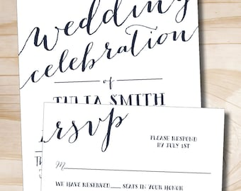 Rustic Script Celebrate Wedding Invitation Response Card Invitation Suite