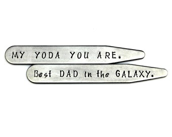 STAR WARS DAD Gift - My Yoda You Are/Best Dad in the Galaxy Stainless Steel Hand Stamped Collar Stays