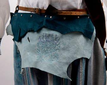 Custom leather battleskirt mini banner mythical gods norse greek embroidery larp armor male female costume fantasy viking black brown pink