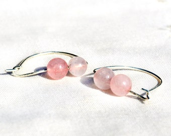 Silver Rose Quartz Hoop Earrings Gem Stone Earrings Soft Pink Earrings Stone Jewelry Silver Jewelry Made in Israel Free Shipping