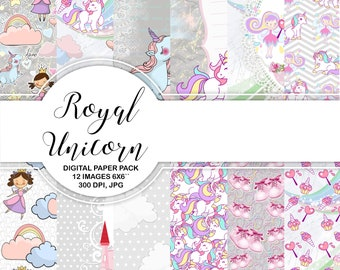 """Unicorn Rainbow Fairy Digital Paper Pack Instant Download Printable Baby Girl Pink Blue Mint Unicorn Rainbow Fairy Princes Girl Clouds 6x6"""""""
