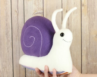 Purple Snail Plush Toy, Snail Stuffed Toy Animal, Snail Plushie, Slug Toy, Bug Slug Soft Toys, Handmade  snails plush toys