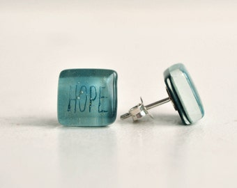 Aqua blue word earrings, Inspirational jewelry, Fused glass, Sterling silver, Motivational faith earrings, Hope earrings