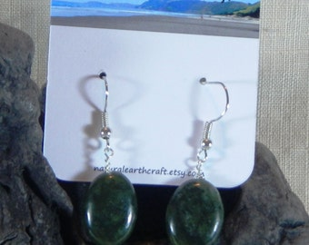 Green African jade earrings large oval deep green semiprecious stone jewelry packaged in a colorful gift bag 3150