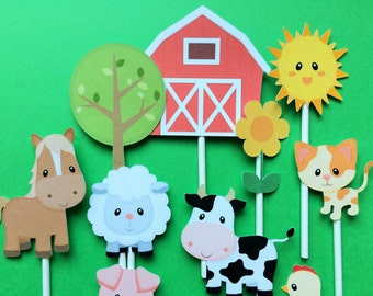 Farm animals cupcake toppers, 15 farm animal cupcake toppers, farm toppers, toppers farm animals, Cow, Pig, Rooster, Cat, Sheep, Hen, Horse