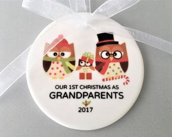 First Christmas as Grandparents, Grandparents Ornament, Grandparents Ornaments, Grandparents Gift, Gift for new Grandparents, Christmas Owls
