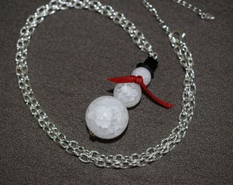 Crystal Quartz Snowman Necklace