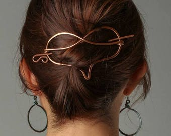 Heart Bun Holder Copper Hair Accessories Hair slide  with stick,  Gift for Mum, Love Heart shapes gift for her, Gifts from your heart