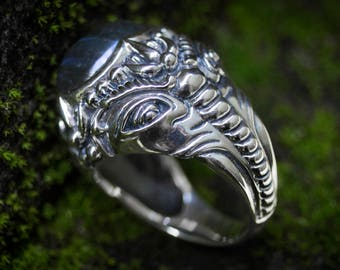 Silver Sacred Ganesh Ring, Elephant Ring, Biker Massive Ring, Protective Ring, Magical Ring, Animal Spiritual Jewelry