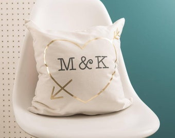 Personalised Love Heart Initials Gold Cushion Pillow