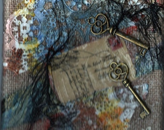 original art mixed media collage 8x8 Ageless latchkey lace and keys