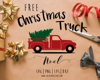 FREE SVG & PNG Link | Christmas Tree Truck Cut Files, svg, png, dxf, eps | Commercial Use | circuit, cameo silhouette | Christmas Clipart