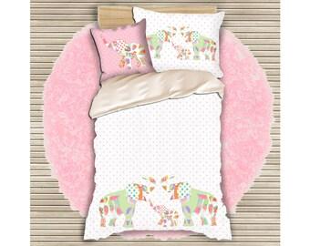 girls duvet cover pink bedding toddler girls bedding girl bedding elephant duvet girls bedroom decor baby girls bedding baby girls room