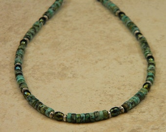 "African ""Turquoise"" OOAK Beaded Necklace"