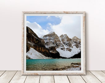 Mountain Lake Art Print Rocky Mountains Square Wall Art 8x8 12x12