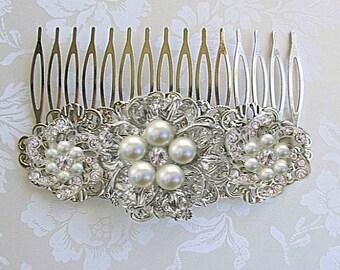 Ivory Pearl, Wedding Hair Comb, Pearl Bridal clip, Silver crystal, wedding Hair Accessories, Decorative Comb, Bridal Hair Comb
