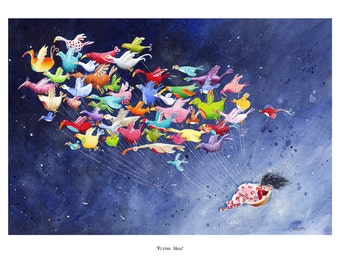 Children's Art - Signed, Limited Edition giclée print. - 'Flying High' (Small)