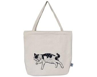 Big beautiful cotton tote bag with cat print- handsewn