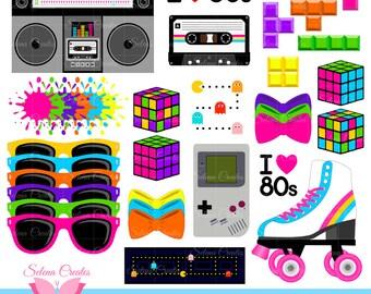 80s Clipart Set, Digital Clipart, Clip Art, 1980s Set, Vector, PNG Format