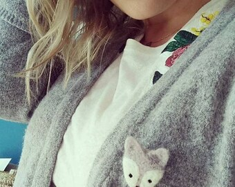 Fox pastel brooch (Mint / pink / grey) felted wool / Fox brooch needlefelt