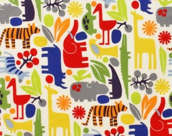 Laminated cotton fabric aka oilcloth Alexander 2-D Zoo Bright
