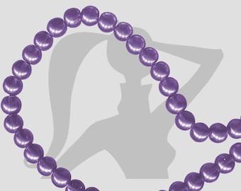 round beads 15 x 8mm glass Pearl slightly translucent purple